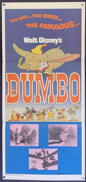 Dumbo Movie Poster Original Daybill 1976 Re-Issue Disney