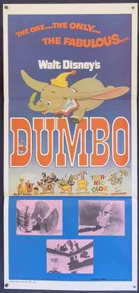 Dumbo Movie Poster Original Daybill Disney 1976 Re-Issue