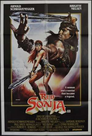 Red Sonja Movie Poster Original One Sheet 1985 Arnold Schwarzenegger