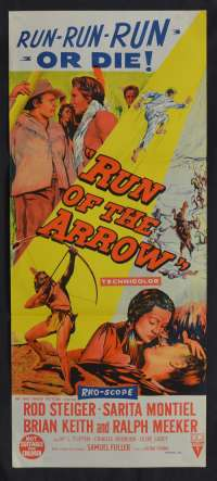 Run Of The Arrow 1957 movie poster Daybill Rod Steiger Brian Kieth
