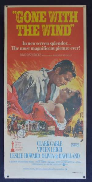 Gone With The Wind Movie Poster Original Daybill 1971 Re-Issue Clark Gable