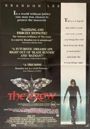 The Crow Poster Original One Sheet 1994 Brandon Lee Martial Arts