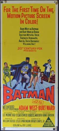 Batman Poster RARE Original Daybill 1966 Adam West Burt Ward Burgess Meredith