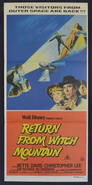 Return From Witch Mountain Movie Poster Original Daybill Bette Davis Christopher Lee