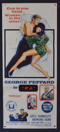 PJ Movie Poster Original Daybill Aka New Face In Hell George Peppard Raymond Burr
