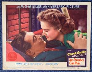 "Any Number Can Play Lobby Card Original USA 11""x14"" 1949 Clark Gable Alexis Smith"