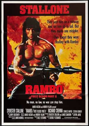 Rambo First Blood Part 2 Poster Original One Sheet 1985 Sylvester Stallone