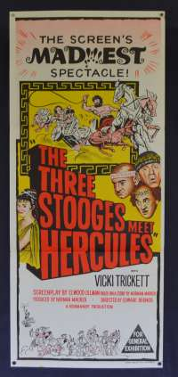 The Three Stooges Meet Hercules Poster Original Daybill 1962 Moe Larry Joe Comedy
