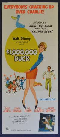 The Million Dollar Duck Movie Poster Original Daybill Dean Jones Disney Joe Flynn